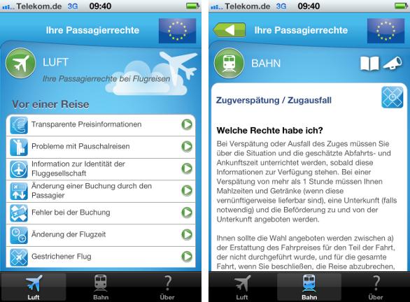 EU-App zum Thema Passagierrechte