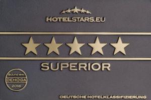 Messingschild mit Hotelsternen