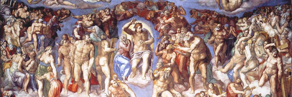 Ausschnitt aus Michelangelos Fresko 'Das Jüngste Gericht'